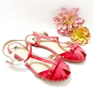 Madison Coral Pink Open Toe Buckle Flats 10M NWOT